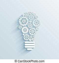 cogs, 光, 纸, 齿轮, 灯泡