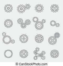 cogs, 轮子, pictograms, 齿轮