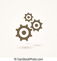 cogs, 齿轮, 三, 放置, 大小, 不同, 或者