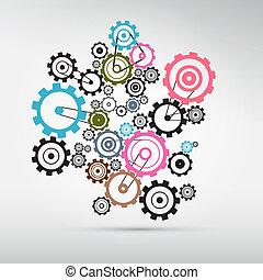 cogs, abstract, -, grijze , vector, toestellen, achtergrond