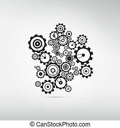 cogs, abstrakt, baggrund, isoleret, det gears, gråne