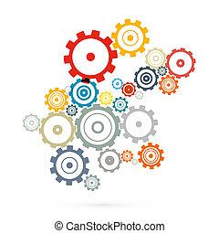 cogs, abstratos, -, isolado, vetorial, engrenagens, fundo, branca
