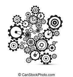 cogs, abstratos, -, vetorial, engrenagens, fundo, branca