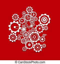 cogs, abstratos, -, vetorial, engrenagens, fundo, branco vermelho