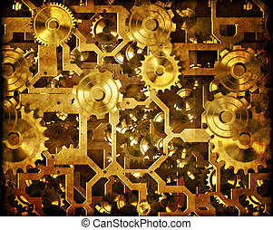 steampunk cogs and clockwork in gold or brass