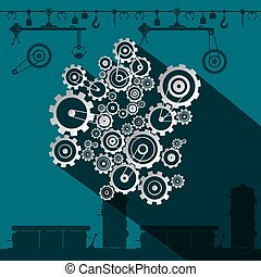 Cogs and Gears in Factory. Vector Flat Design Industrial Symbol.