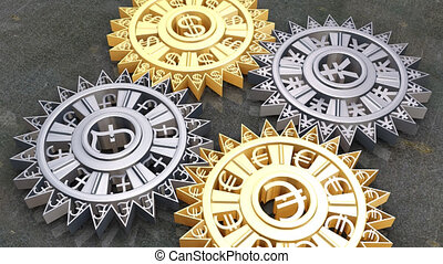 Cogs and gears of different currencies in motion