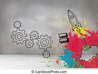 Cogs and rocket on splashes on grey wall