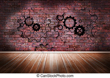 Cogs and wheels on brick wall