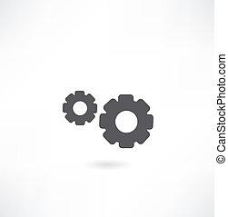 cogs, branca, experiência preta, (gears)