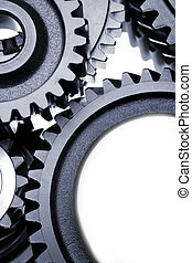 Close-up of multiple steel cogs