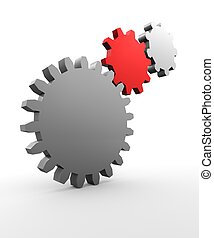 Cogs - Three cogs one red on white background