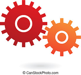 Cogs - Red and orange cogs isolated on white