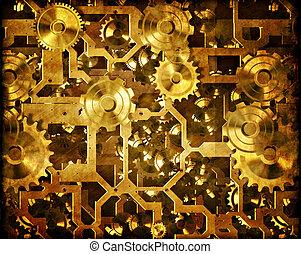 cogs, e, clockwork, steampunk, maquinaria