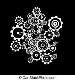 cogs, elvont, -, vektor, fekete, fogaskerék-áttétel, háttér