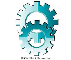 cogs, elvont, -, vektor, fogaskerék-áttétel, háttér, fehér