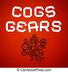cogs, elvont, -, vektor, fogaskerék-áttétel, háttér, piros
