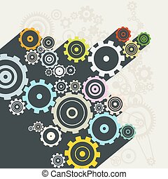 Cogs Flat Design Long Shadow Vector Illustration