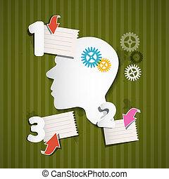 cogs, folhas, cabeça, abstratos, retro, papel, setas, infographic, verde, esquema