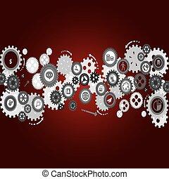 cogs, gears., abstratos, vetorial, -