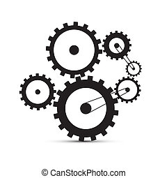 Cogs - Gears Black Illustration on White Background