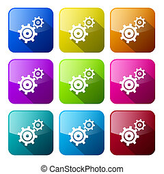 Cogs - Gears Colorful Icons Set Isolated on White Background