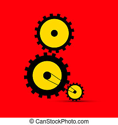 Cogs - Gears Illustration on Red Background