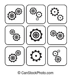 Cogs - Gears Set Illustration Isolated on White Background