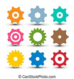 Cogs - Gears Set. Vector og Icon. Gear Symbol Isolated.