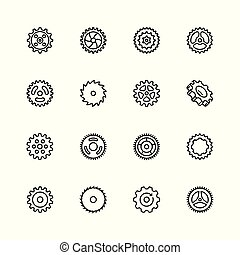 Cogs, gears vector icon set in thin line style