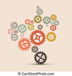 Cogs - Gears Vector Retro Illustration