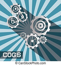 cogs - gears. vector retro paper cut cog - gear set on blue background.