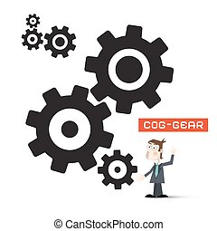 Cogs - Gears with Businessman. Vector Technology Symbol Isolated on White Background.