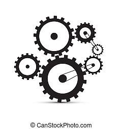 cogs, -, ilustração, pretas, engrenagens, fundo, branca