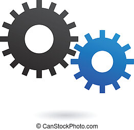 Cogs - Blue and black cogs on white backround