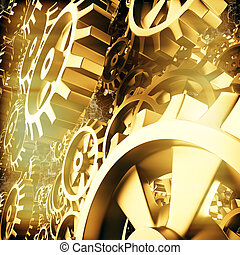 cogs, macro, engrenagens, ouro