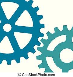 (cogs, process), illustration, vecteur, engrenages, croissant