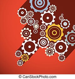 Cogs. Retro Gears Illustration. Vector Paper Clock Parts on Red Background.
