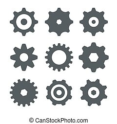 Cogs Set on White Background