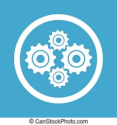 Cogs sign icon - Image of four cogs in circle, isolated on...