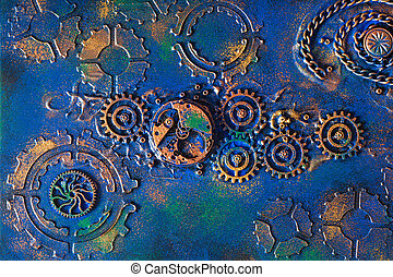 cogs, steampunk, feito à mão, clockwork, fundo, mecânico, rodas
