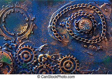 cogs, steampunk, feito à mão, fundo, mecânico, rodas