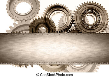 Cogs - Steel panel on cogs. Copy space