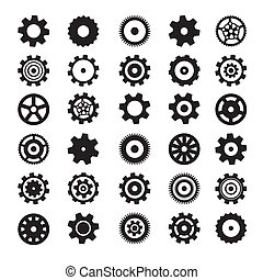 Cogs Symbols. Flat Design Vector Gears Set Isolated on White Background.