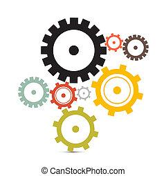 cogs, -, vrijstaand, illustratie, vector, toestellen,...