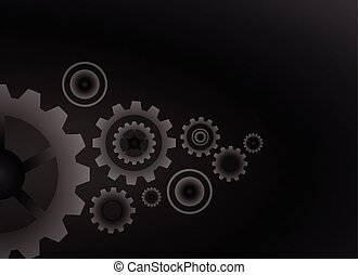 Cogs wheels black color background