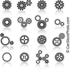 cogs, wielen, en, toestellen, iconen, set