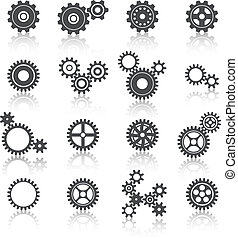cogs, wielen, set, toestellen, iconen