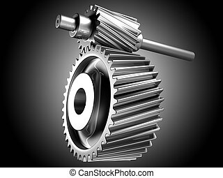 Cogs working together. - 3D image of silver cogs.