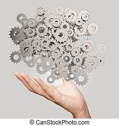 cogs, zakenman, toestellen, hand, het tonen, succes, concept